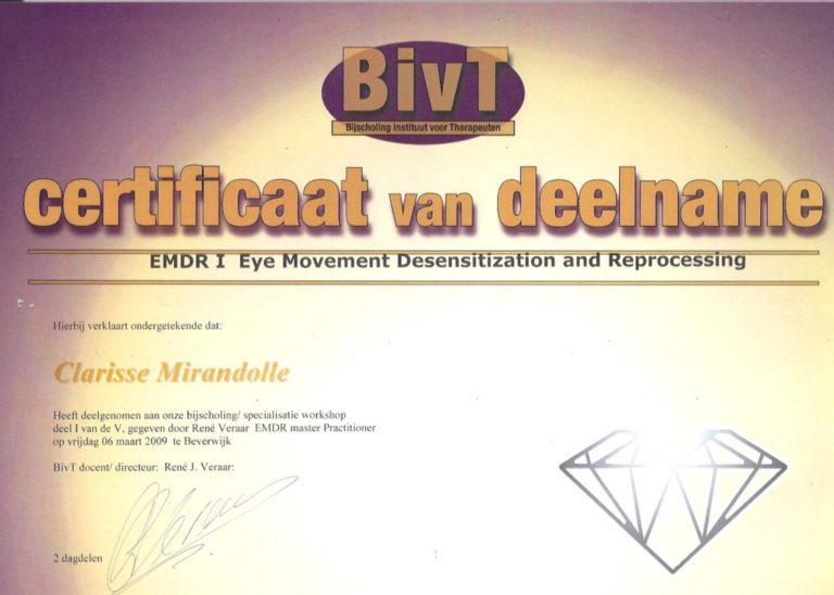 EMDR 1 - Diploma Clarisse Mirandolle